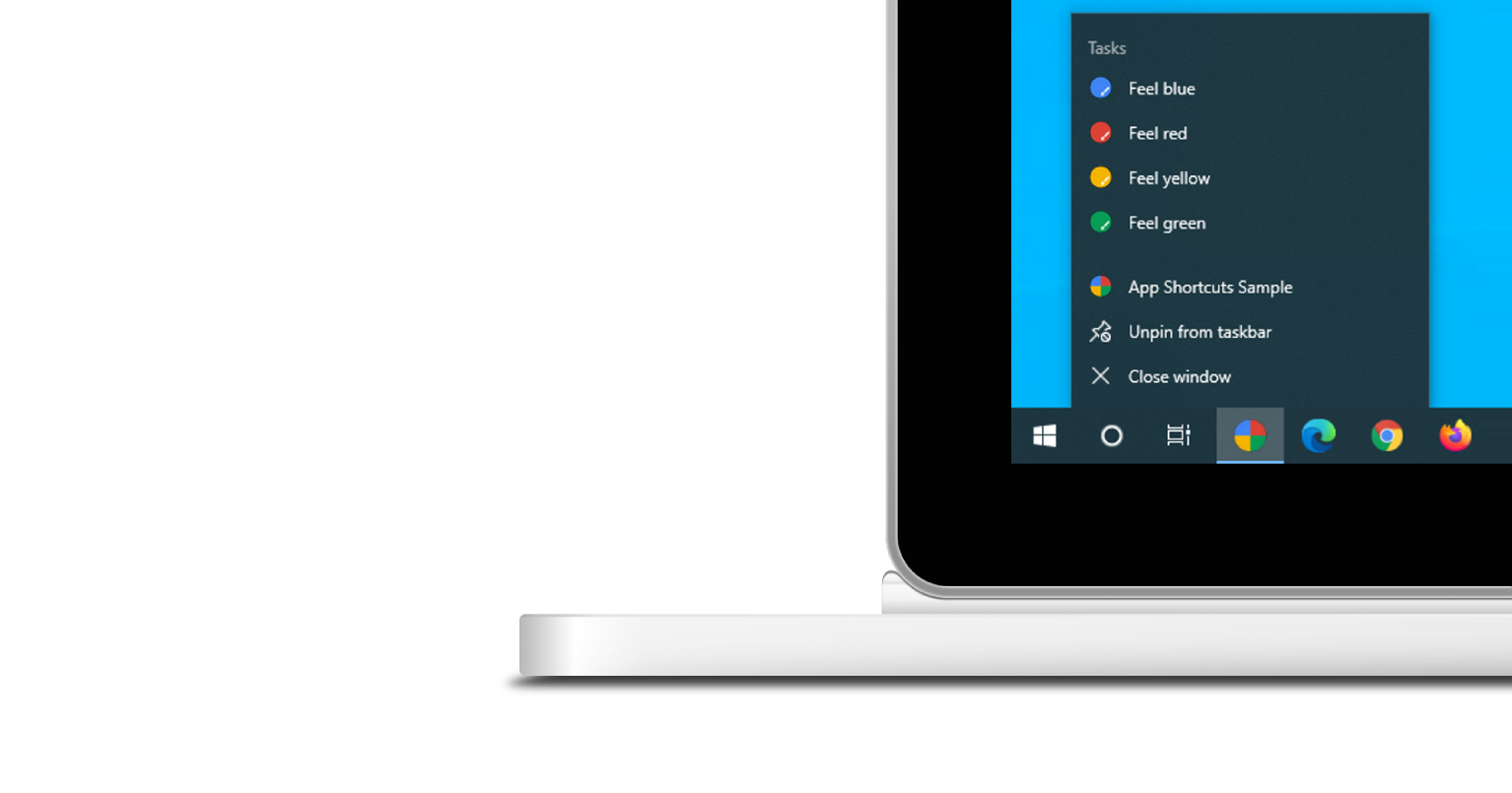 Screenshot of an app shortcuts menu opened on Windows