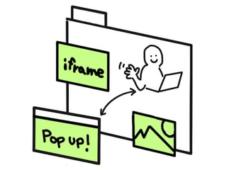 An illustration of a person browsing a website that has a popup, an iframe, and an image.