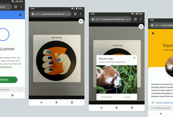A series of screens shows a phone camera scanning an image and generating a link.