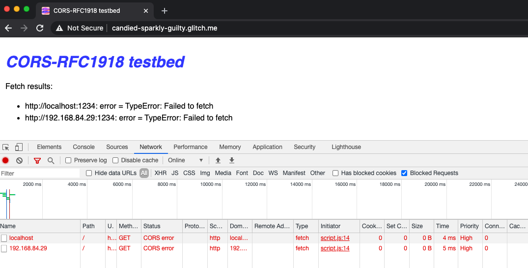 CORS-RFC1918 errors will also be reported as CORS error errors in the Network panel.