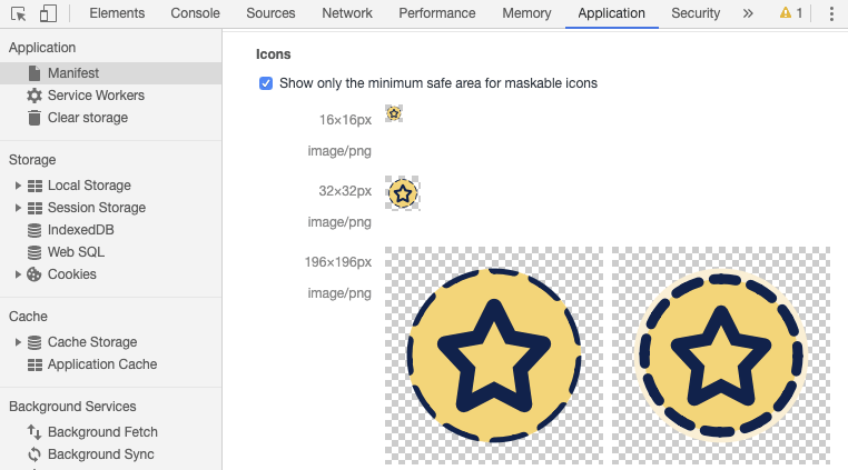 Applications panel in DevTools displaying PWA icons with edges cropped