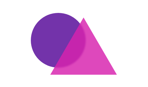 A triangle superimposed on a circle. The triangle is translucent, allowing the circle to be seen through it.