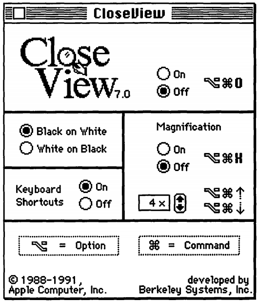 """CloseView in Mac OS System 7 with """"White on Black"""" mode"""