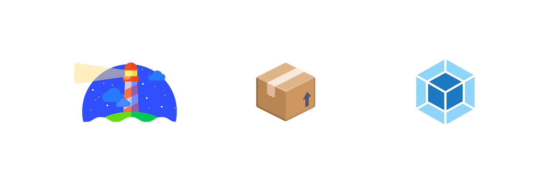 Webpack, bundlesize and Lighthouse logos