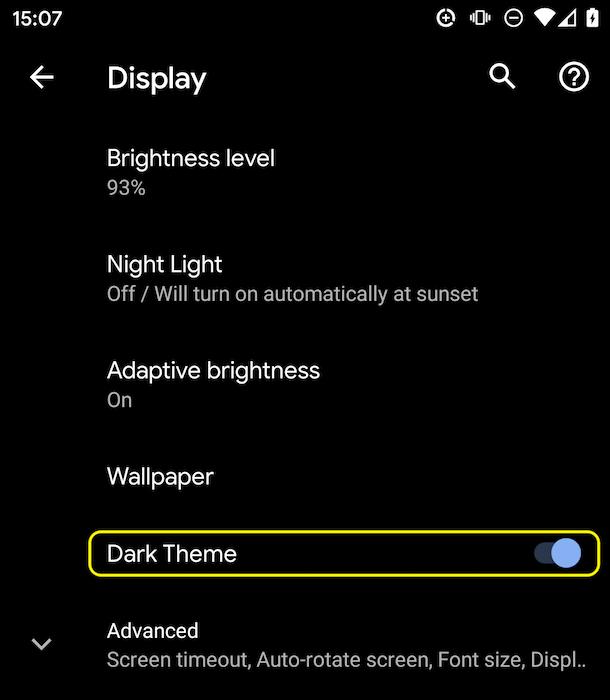 Android Q dark mode settings