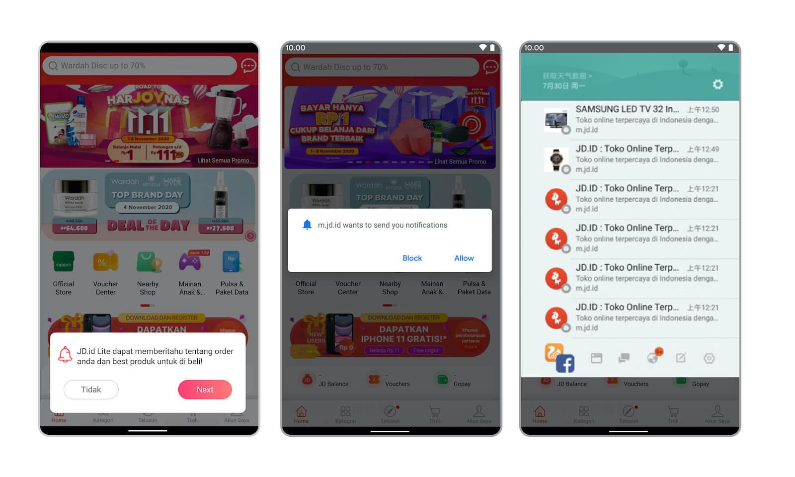 Screenshots of enabling push notifications