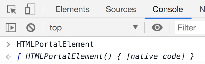 A screenshot of the DevTools console showing the HTMLPortalElement