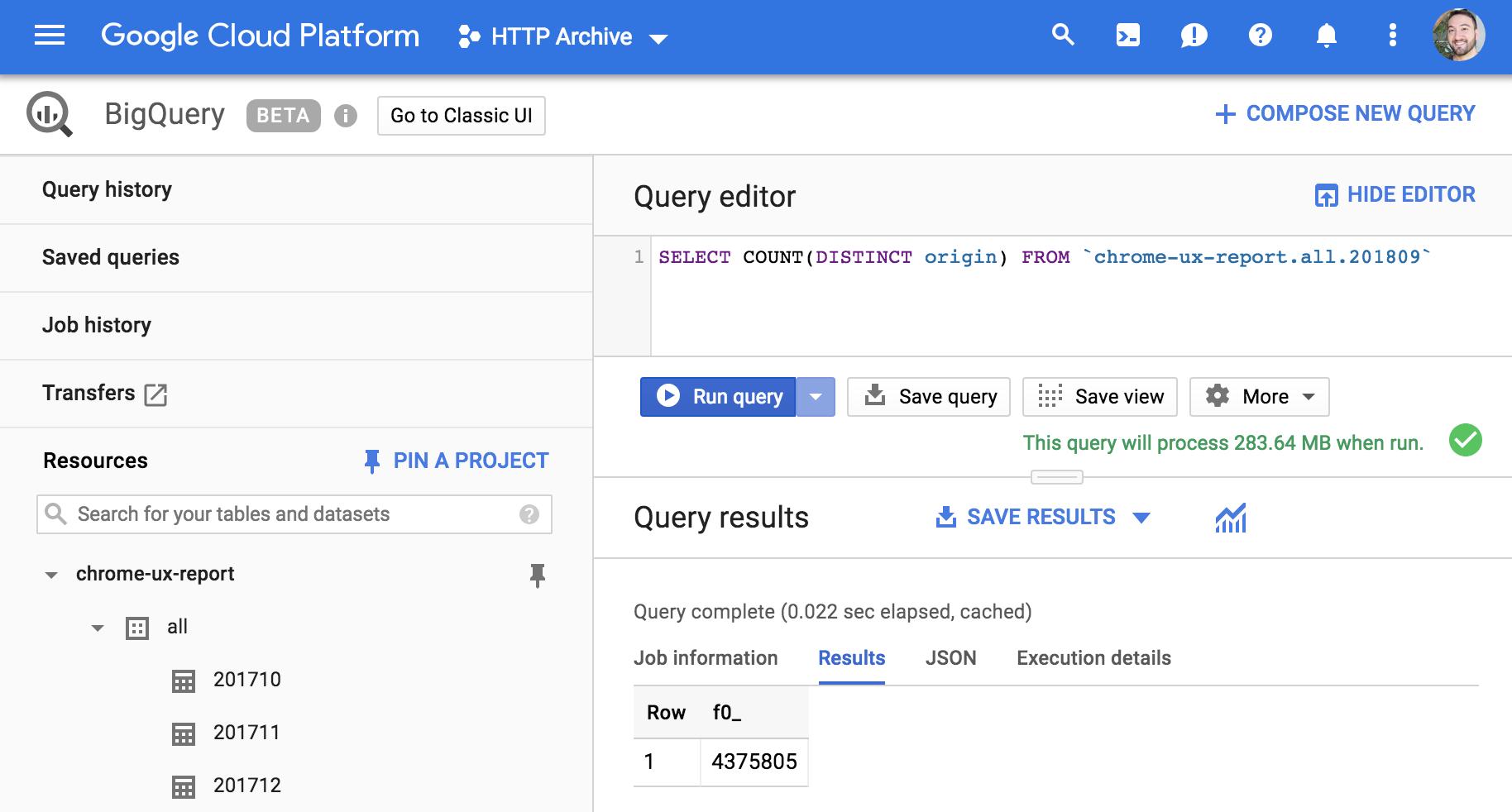 Enter a simple query into editor and press Run.