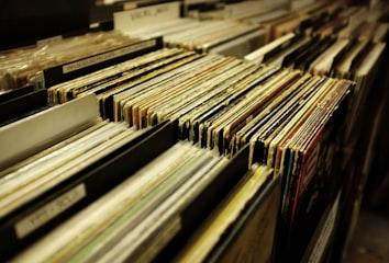 Stacks of vinyl records.