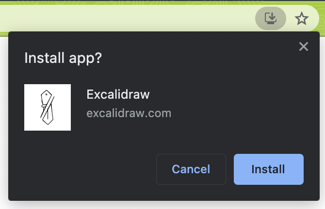Excalidraw prompting the user to install the app in Chrome on macOS.