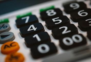 A closeup photo of a calculator.