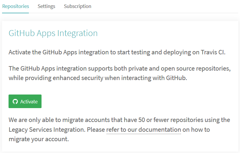 GitHub Apps integration on Travis CI