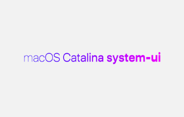 "A bright pink and purple gradient with ""macOS Catalina system-ui"" going from thin to think from left to right, demonstrating some of the new variation settings"