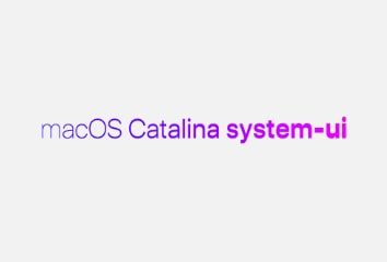 """A bright pink and purple gradient with """"macOS Catalina system-ui"""" going from thin to think from left to right, demonstrating some of the new variation settings"""