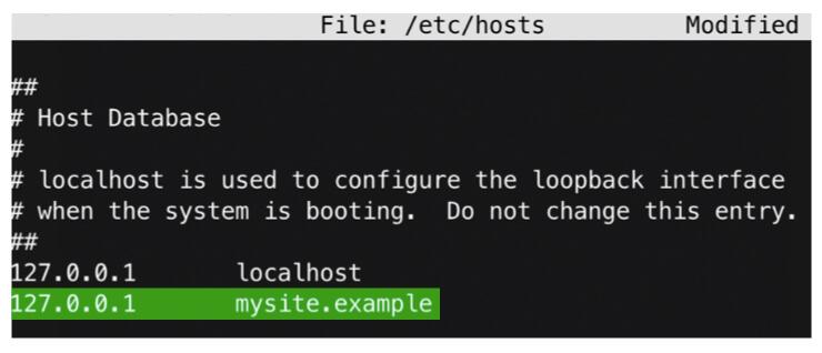 Screenshot of a terminal editing a hosts file
