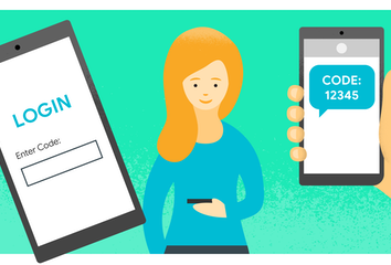 A drawing of a woman using OTP to log in to a web app.