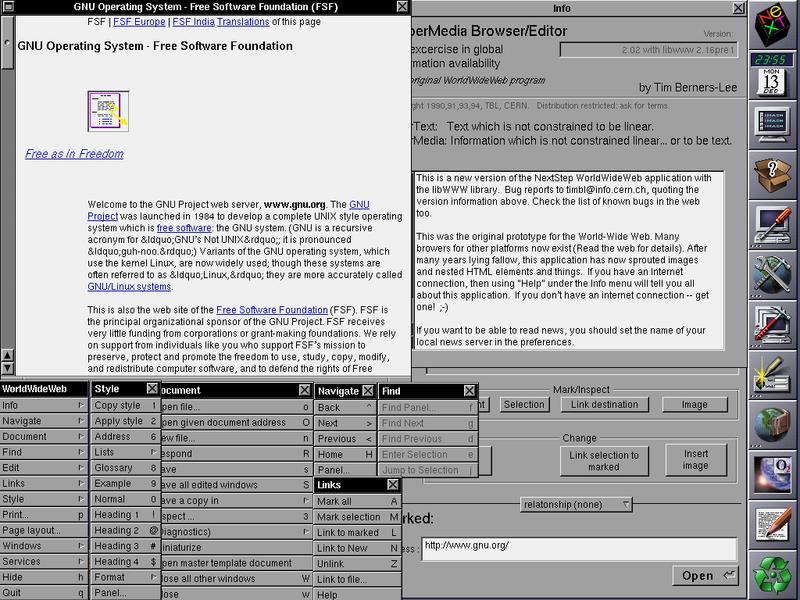 Dark-on-white webpage in the WorldWideWeb browser