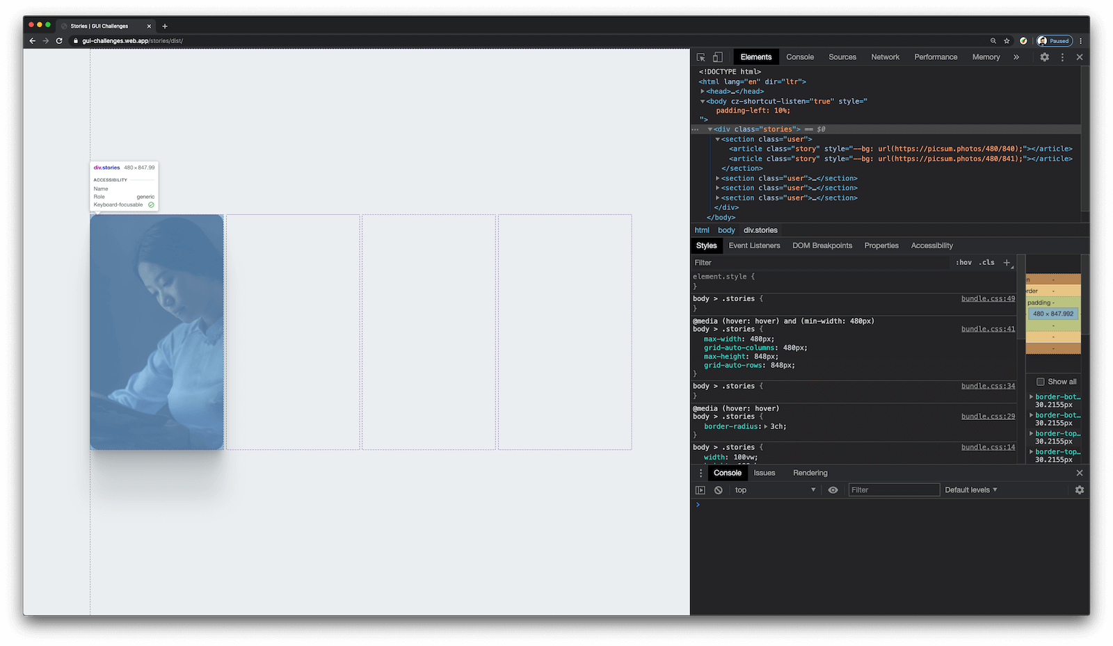 Chrome and DevTools open with a grid visual showing the full width layout