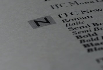Page of a font book.