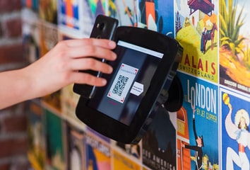 QR code being scanned by a mobile phone