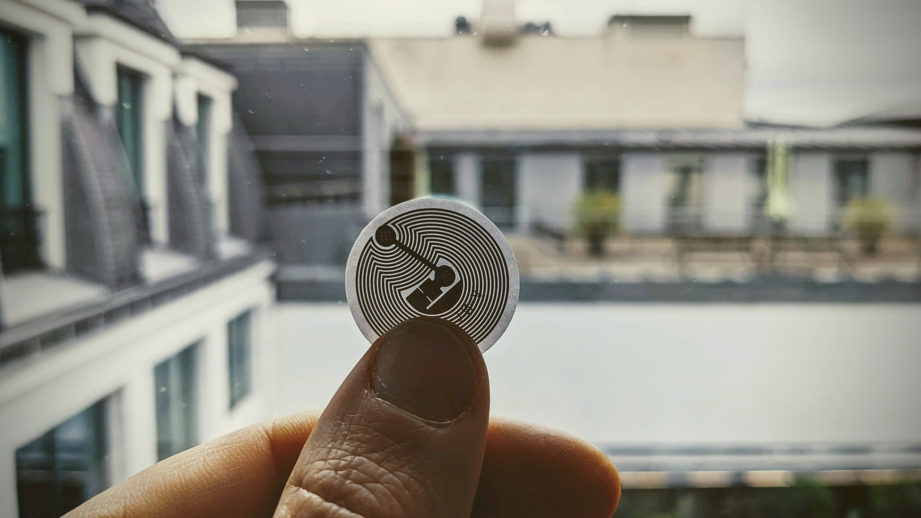 Photo of a transparent NFC tag