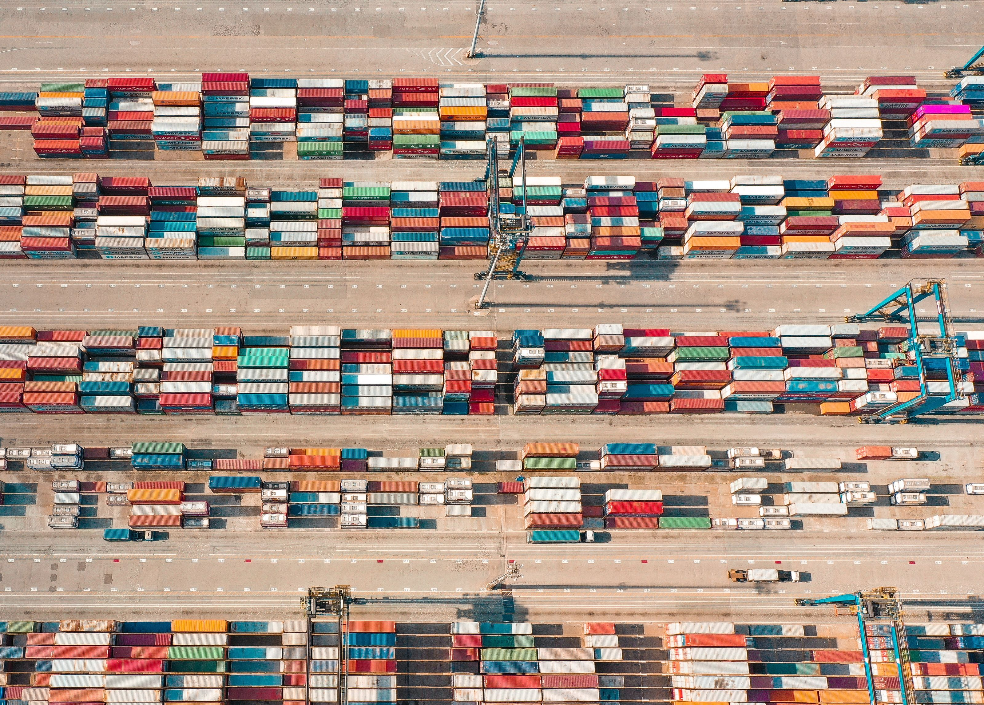 Aerial view of shipping containers.
