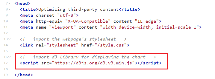 Screenshot of index.html with highlighted script tag in the head.