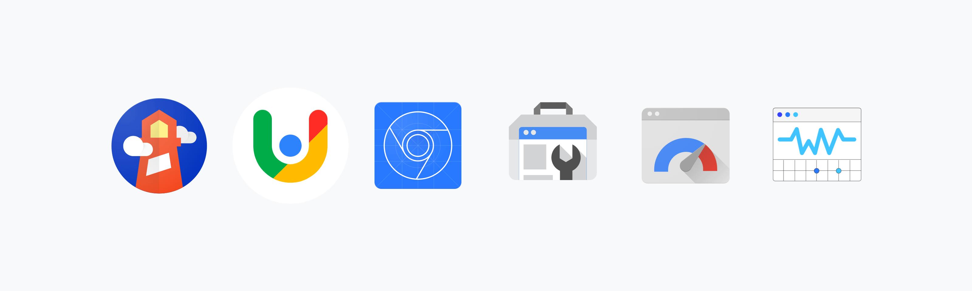 Логотип Chrome User Experience, логотип PageSpeed Insights, логотип Lighthouse, логотип Search Console, логотип Chrome DevTools, логотип расширения Web Vitals.