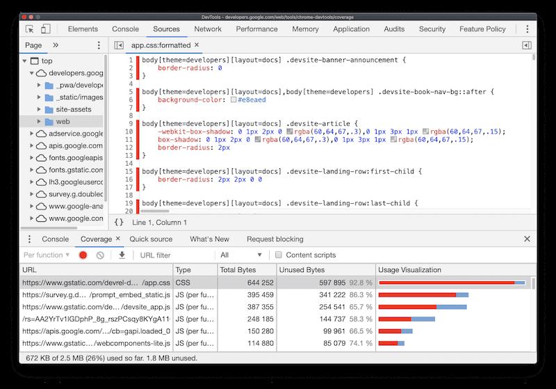 Chrome DevTools의 Coverage 탭