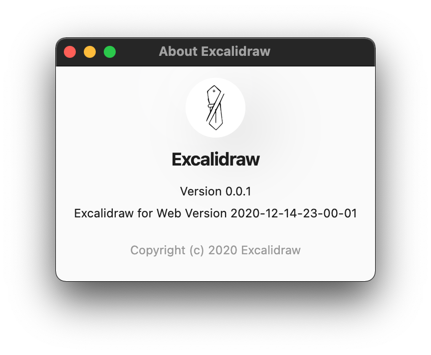 The Excalidraw Desktop 'About' window displaying the version of the Electron wrapper and the web app.
