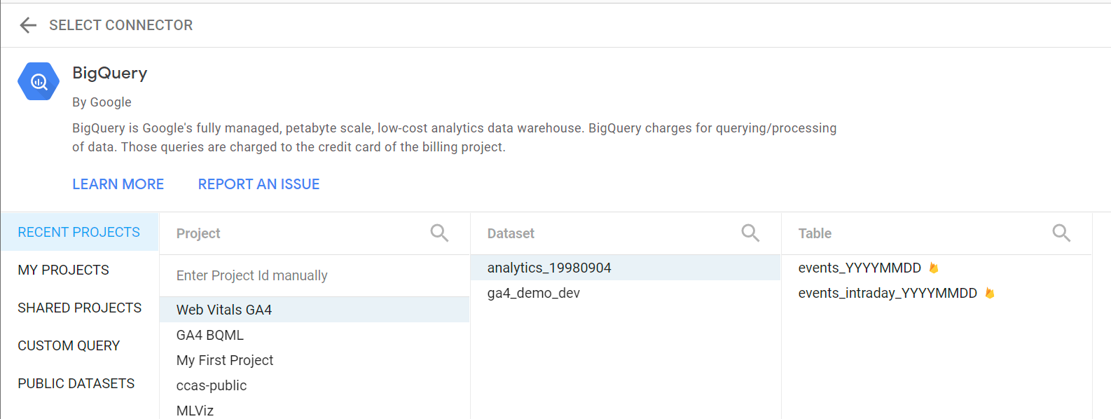 Using the BigQuery native connector in Data Studio