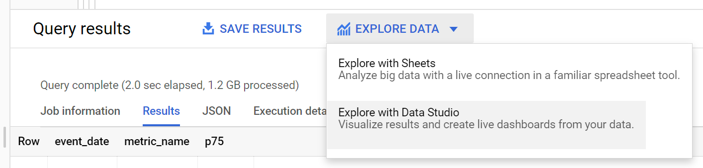 Explore with Data Studio option in BigQuery