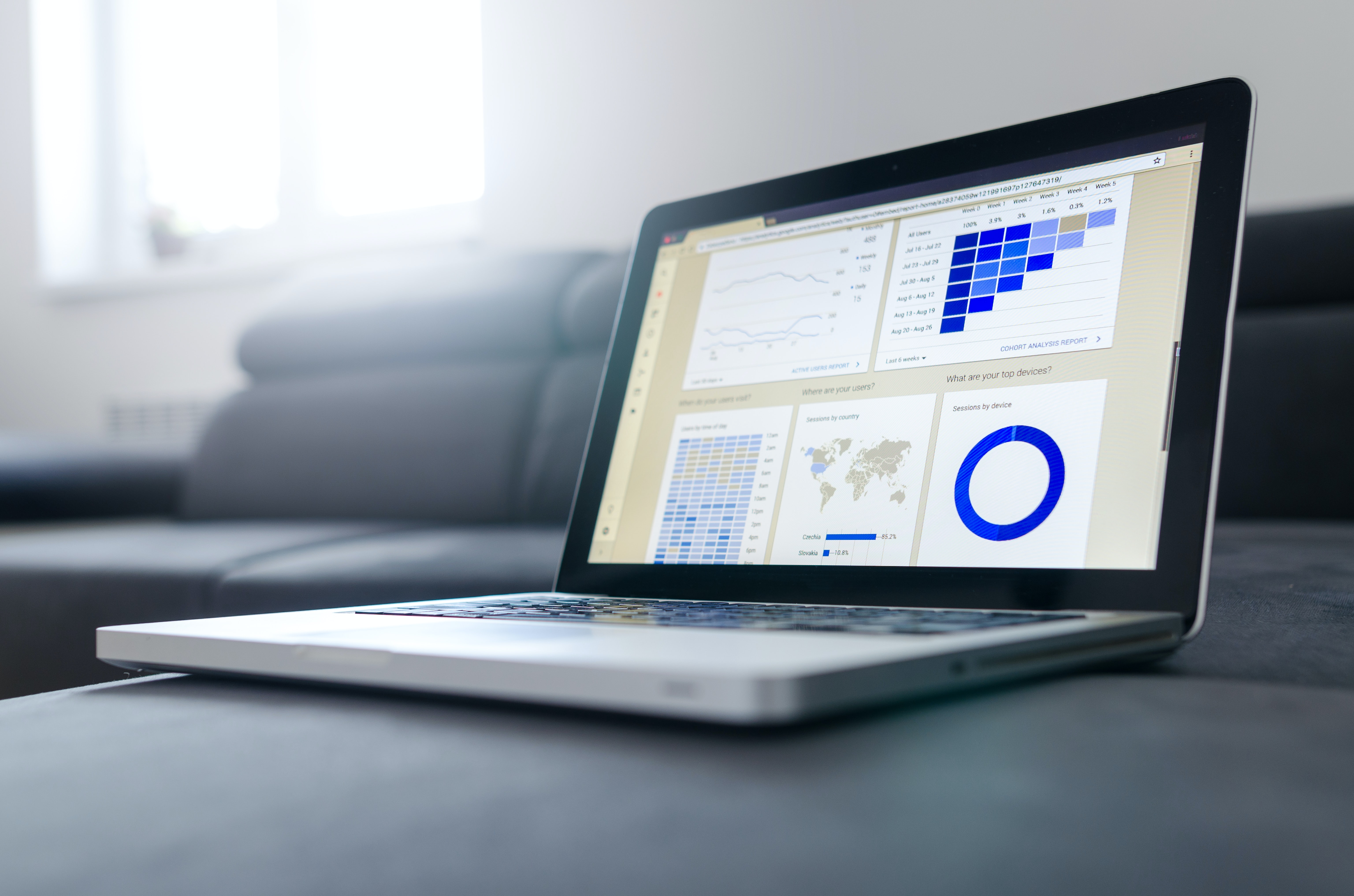 Laptop screen showing an analytics interface