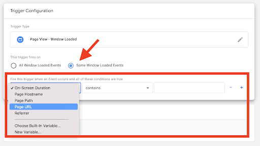 Screenshot showing trigger conditions in Google Tag Manager