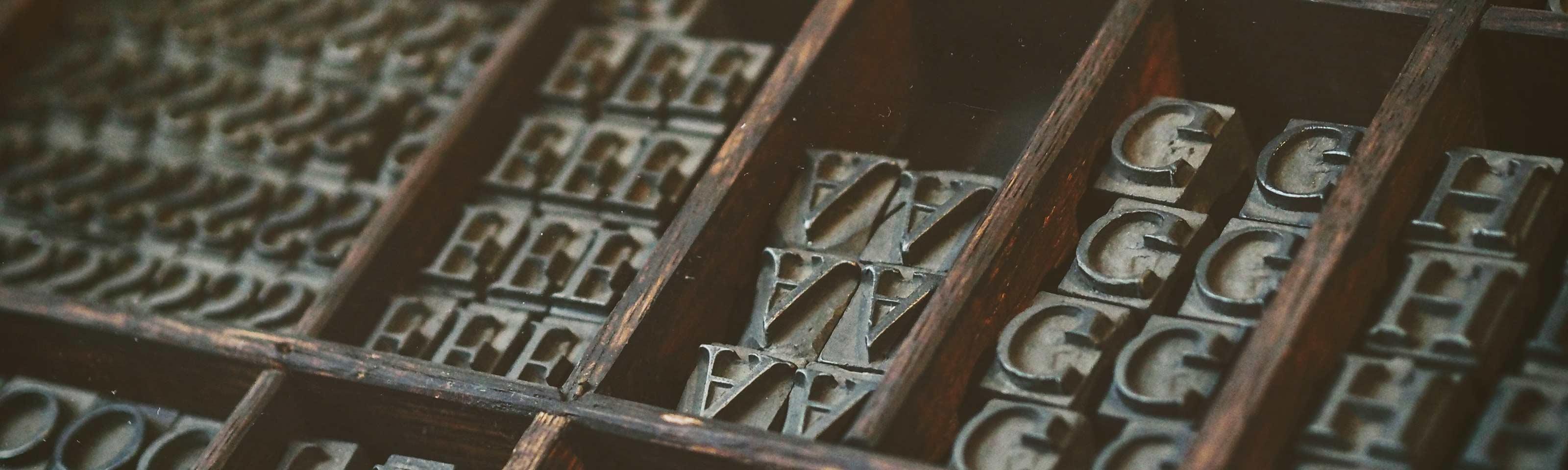A photo of letterpress type.