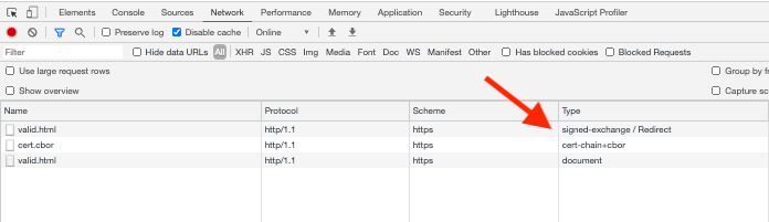 Screenshot of the DevTools Network panel showing that the SXG      and its certificate were loaded with no errors.