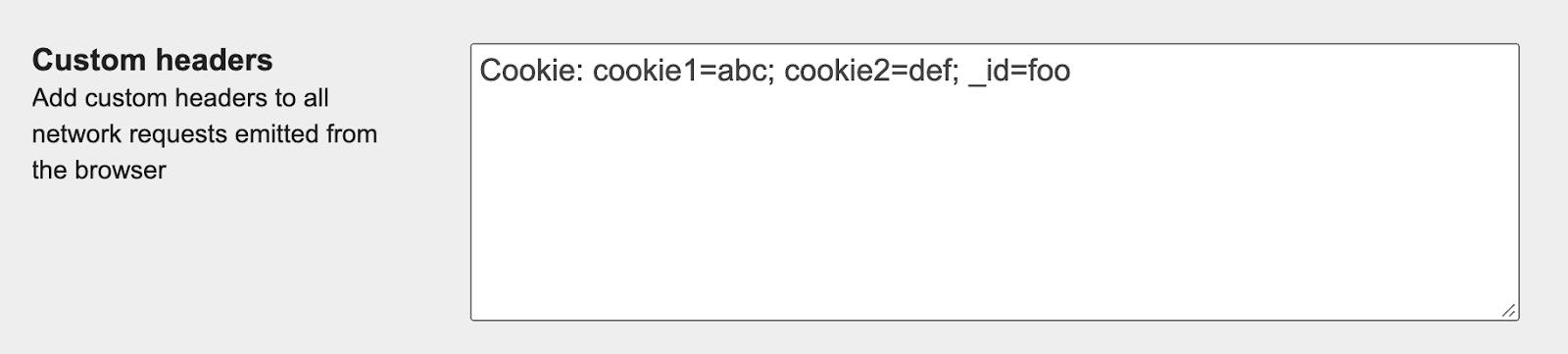 Screeshot showing the 'Custom headers' field in WebPageTest