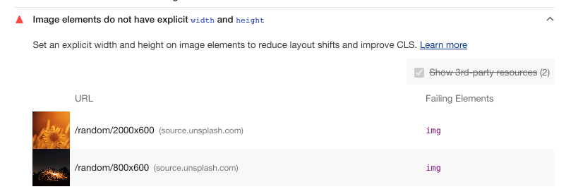 Lighthouse's 'Image elements have explicit width and height' audit