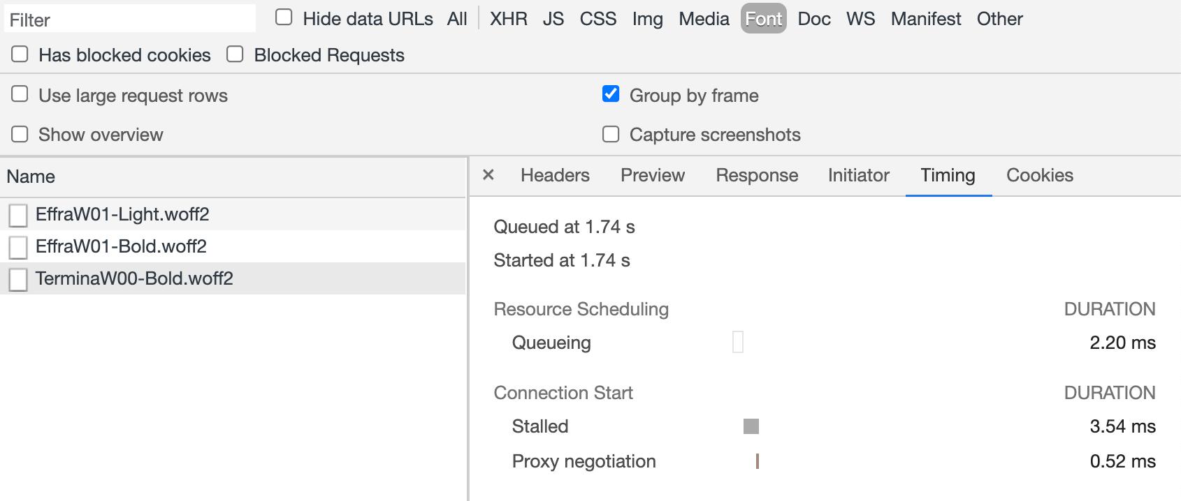 Screenshot of 'Timing' tab in DevTools