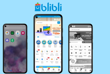 Images of the BliBli app.
