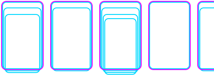 Visualized multi-dimensional array using cards. Left to right is a stack of purple borders cards, and inside each card is 1-many cyan bordered cards. List in a list.