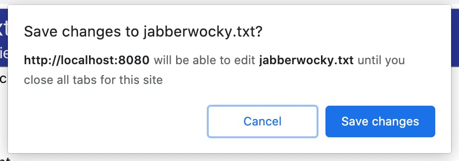 Permission prompt shown prior to saving a file.