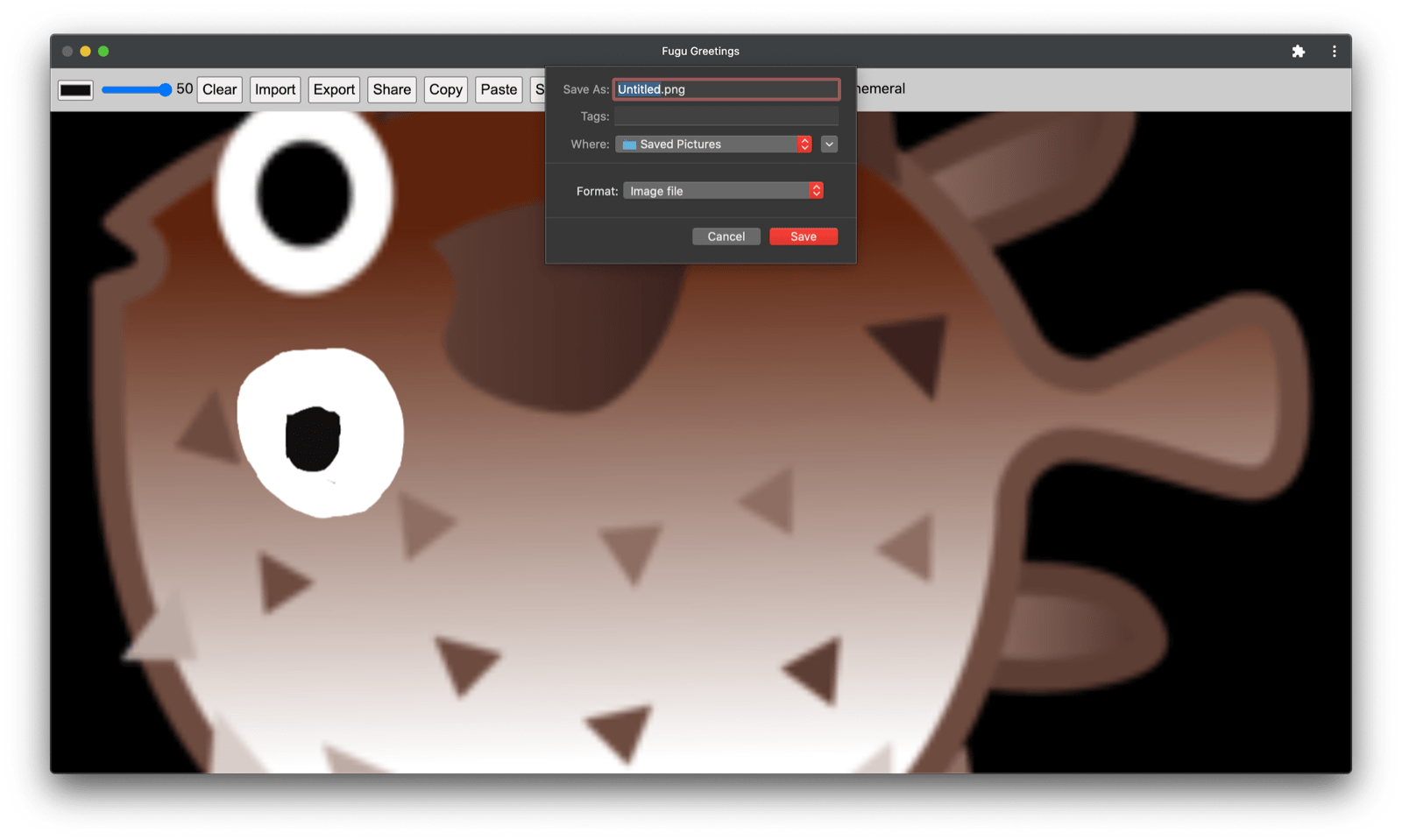 Fugu Greetings app with the modified image.