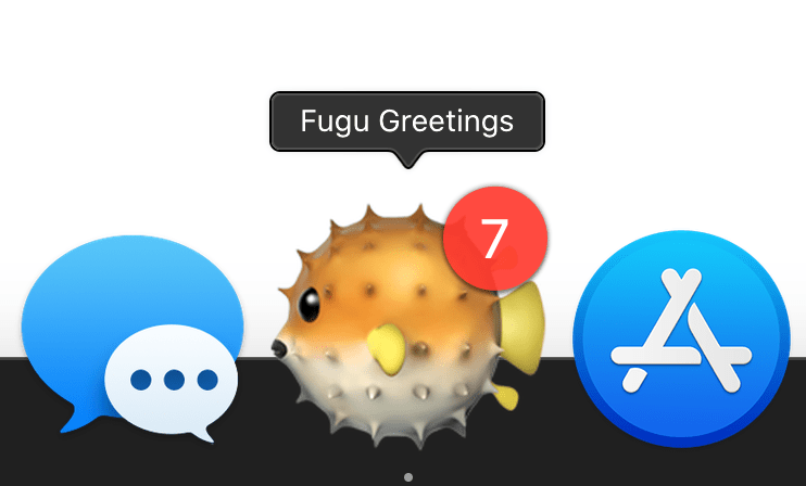 Badge icon on the Fugu Greetings app showing the number 7.