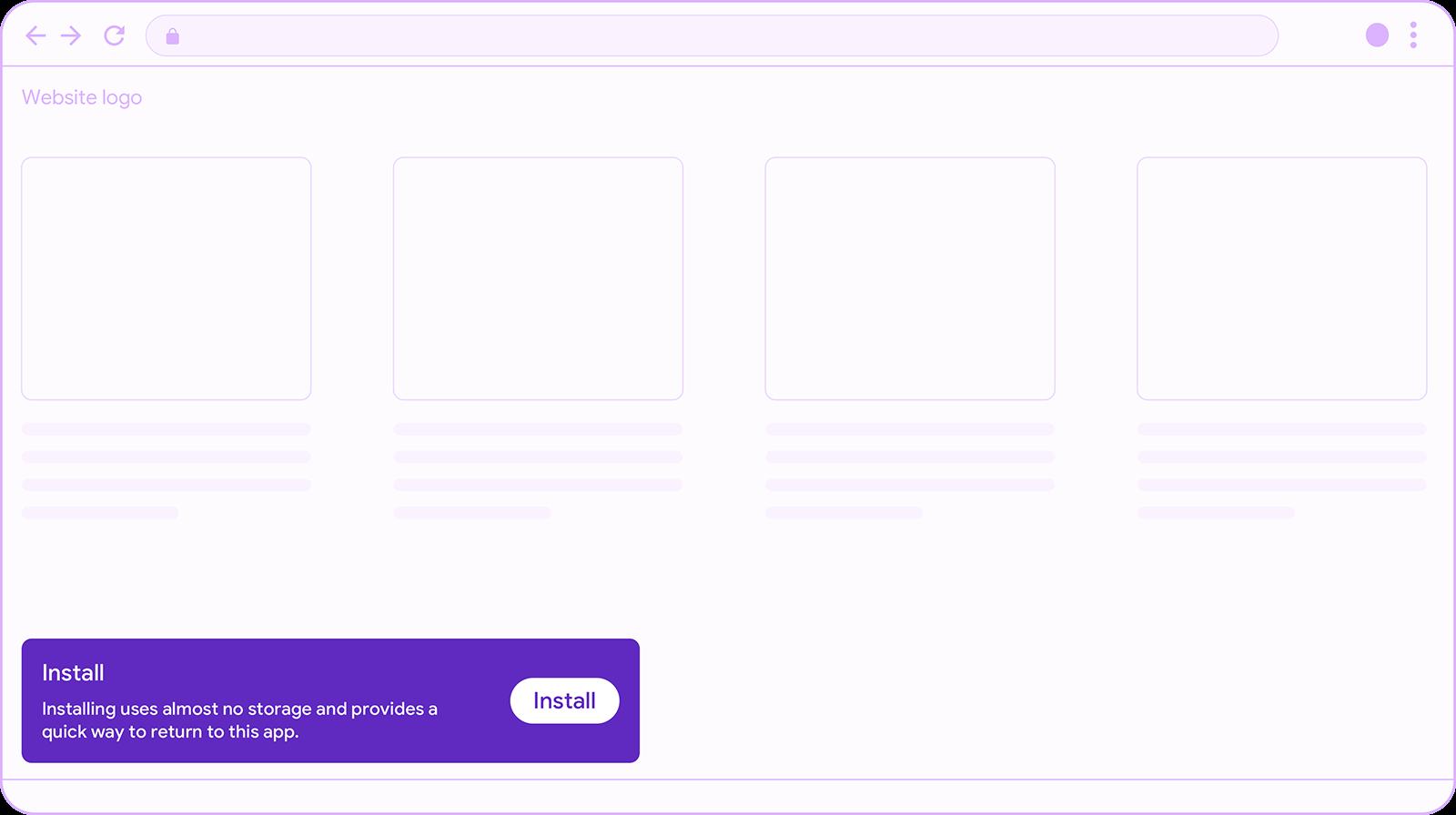 Custom install banner as snackbar.