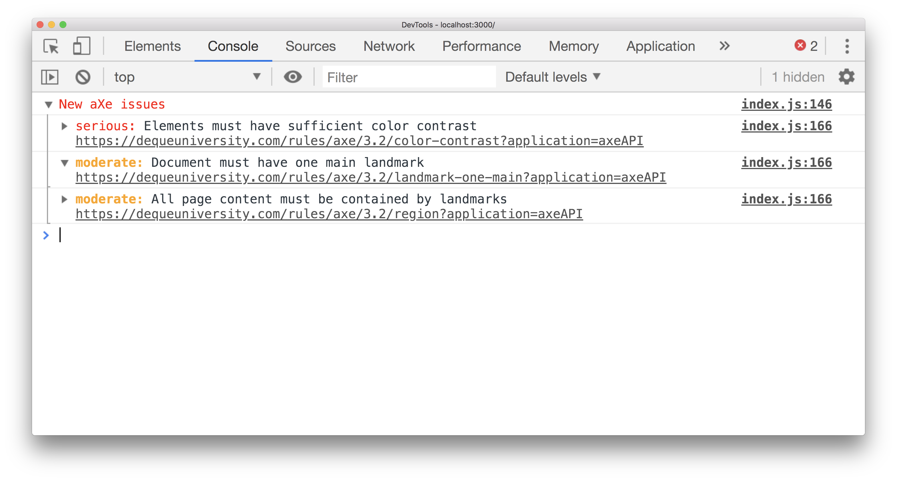 React Axe in Chrome DevTools