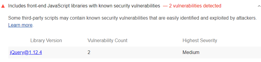 Lighthouse audit showing any front-end JavaScript libraries with known security vulnerabilities used by the page
