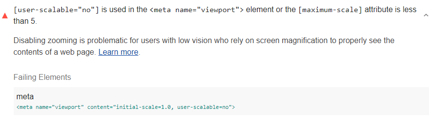 Lighthouse audit showing the viewport disables text scaling and zooming