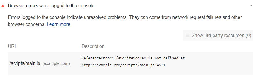 Lighthouse audit showing browser errors in the console