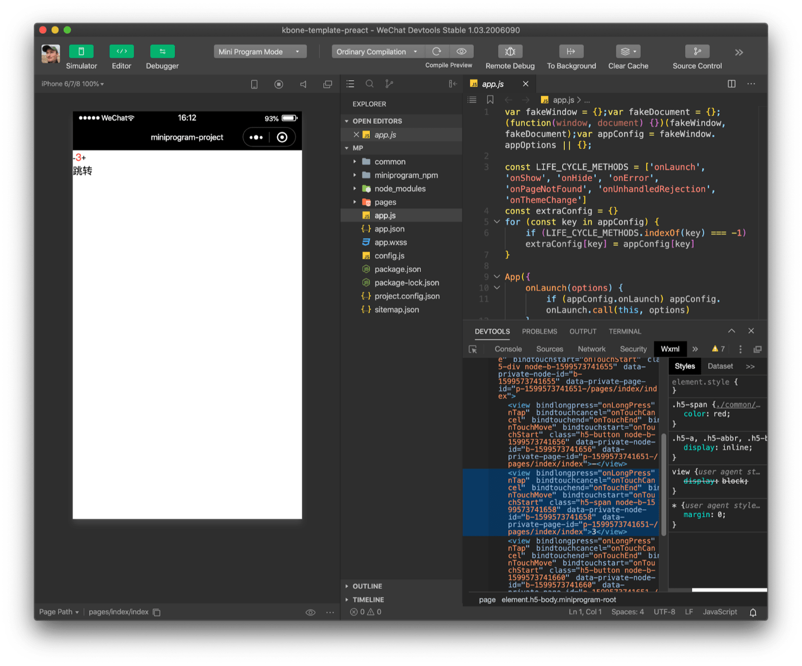 The Preact kbone template demo app opened in WeChat DevTools. Inspecting the DOM structure shows a significant overhead compared to the web app.
